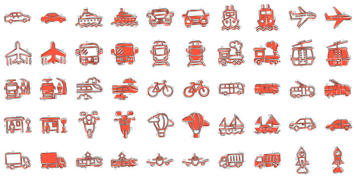 Transport icon set in comic style. Car vector cartoon collection illustration on white isolated background. Shipping transportation splash effect business concept.