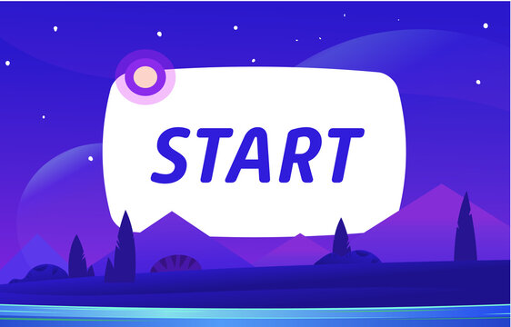 START Vector night environment with sky clouds. Moonlight.