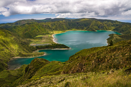 The breathtaking view of the crater lake Lagoa do Fogo on the Portuguese island of Sao Miguel