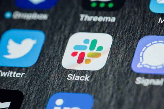 Close up to Slack app on iPhone screen
