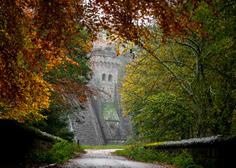 Countryside walk through autumn trees orange leaves fall colours dam wall reservoir viewpoint wall...