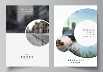 Obraz Vector layout of A4 cover mockups templates for brochure, flyer layout, booklet, cover design, book design, brochure cover. Background template with rounds, circles for IT, technology. Minimal style. - fototapety do salonu