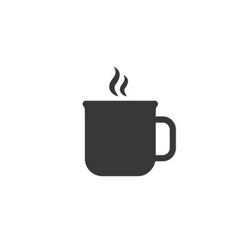 Cup of tea icon on white. Vector flat
