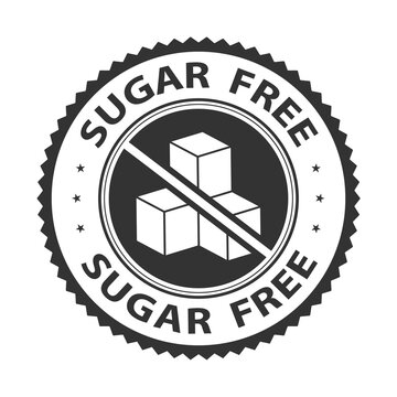 Sugar free badge, logo, icon. Vector illustration isolated on white background. Label or sticker flat design. Healthy food concept. No sugar symbol for food packaging or dietetic product nutrition