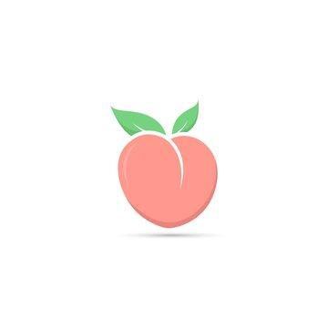 Peach icon, Peach fruit logo, Cute Peach, Fresh Peach vector isolated on white background.