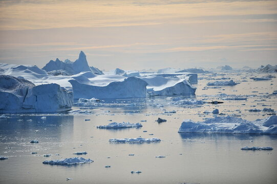 Greenland. Icebergs. Giant floating Iceberg from melting glacier. Global Warming and Climate Change.