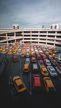 Taxis waiting at San Francisco airport