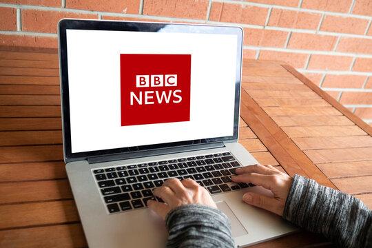 bbc news logo editorial illustrative, on screen