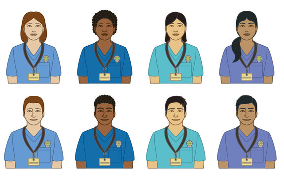 diversity, race, ethnicity of nurse vector icons, male and female, dressed in scrubs, isolated on a white background