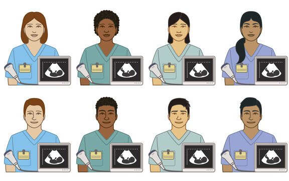 diversity, race, ethnicity of sonographer ultrasound technician vector icons, male and female, with sonogram image of fetus and transducer, isolated on a white background