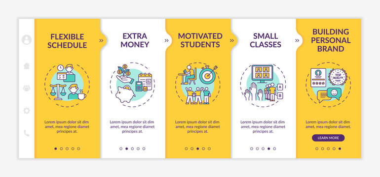 Online tutoring benefits onboarding vector template. Flexible schedule and extra money earning. Responsive mobile website with icons. Webpage walkthrough step screens. RGB color concept