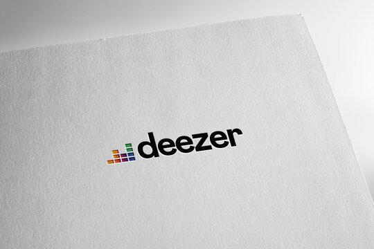 Deezer logo editorial illustrative, on screen