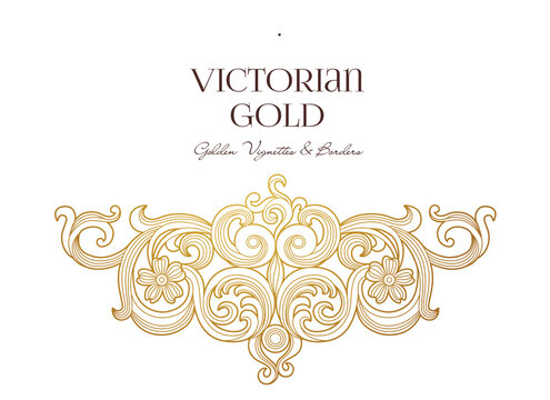Vector golden element, decoration for design template. Luxury ornament in Victorian style. Premium floral illustration. Ornate decor, frame for invitation, card, thank you message, label, badge, tag.