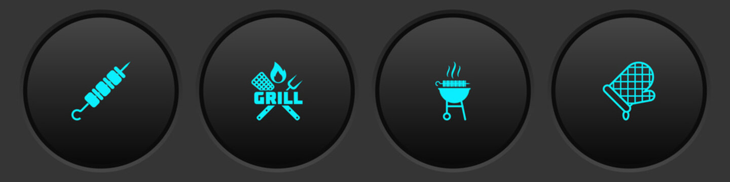 Set Grilled shish kebab, Crossed fork and spatula, Barbecue grilled and Oven glove icon. Vector.