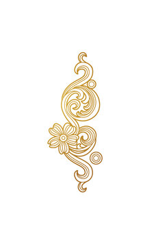 Vector gold floral element, decoration for design template. Luxury ornament in Victorian style.