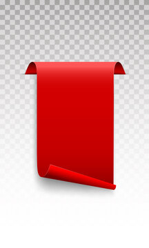 Red scroll banner on a transparent background