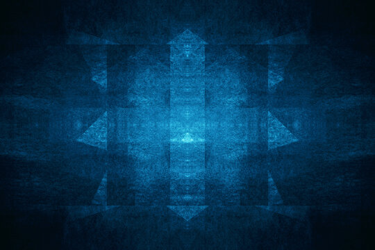 Creative geometric. Abstract, science, futuristic, energy technology concept. Blue room. Blue angle arrow overlap background. 3d illustration.