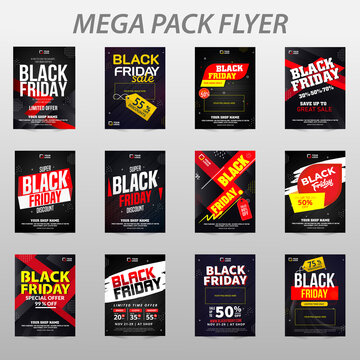 Corporate black friday Flyer poster pamphlet brochure cover design layout background, two colors scheme, vector template in A4 size - Vector