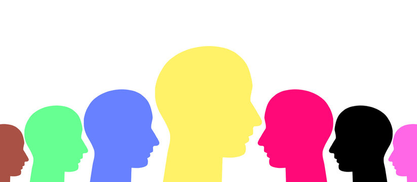silhouettes of multicolored heads of a crowd of people idea