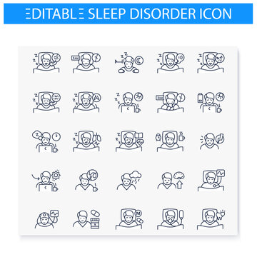Sleep disorder line icons set. Apnea and insomnia. Healthy sleeping concept. Sleep problems treatment. Health care. Symptoms and causes of sleeping disturbance. Isolated editable vector illustrations