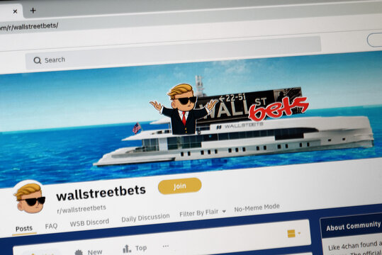 Mainz, Germany - January 29, 2021: A close up on a computer screen shows the frontpage and icon of the Wallstreetbets group, on the Reddit internet site.