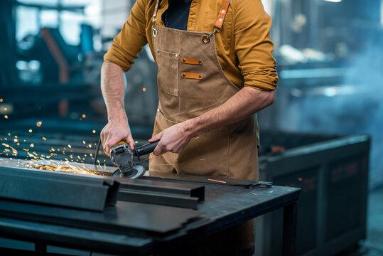 Metal industry worker at factory