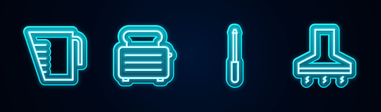 Set line Measuring cup, Toaster with toasts, Knife sharpener and Kitchen extractor fan. Glowing neon icon. Vector.