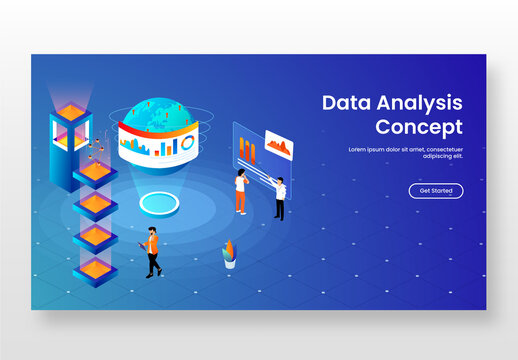 Landing Page Design, Business People Maintain Infographic Website with Global Networking and Server Layer for Data Analysis Concept