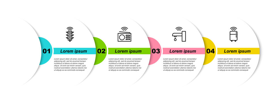 Set line Smart traffic light, radio, water tap and refrigerator. Business infographic template. Vector.