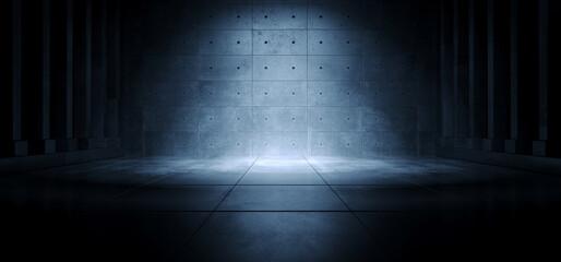 Realistic Garage Underground Blue Light Hallway Tunnel Corridor Sci Fi Futuristic Dark Parking Warehouse Cement Concrete Grunge Stage 3D Rendering