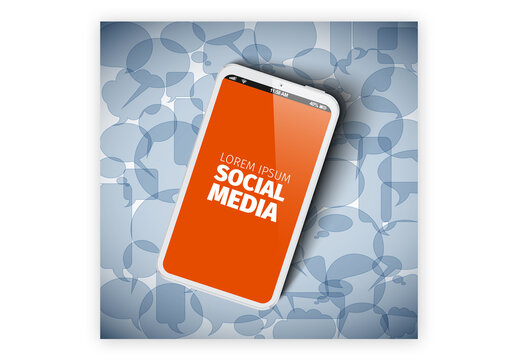 Social Media Abstract Illustration Layout with Smartphone