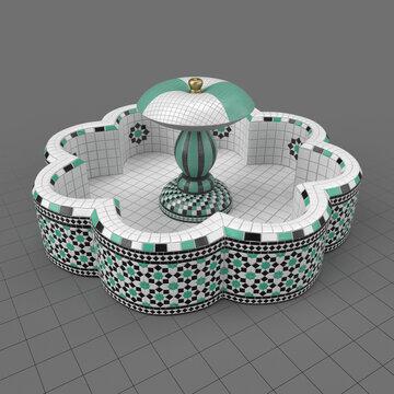 Octagonal mosaic fountain