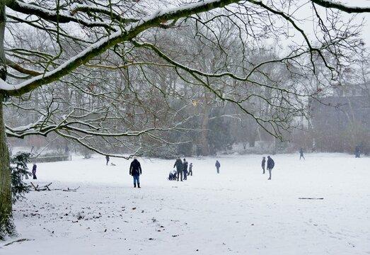 Schneelandschaft mit Familien