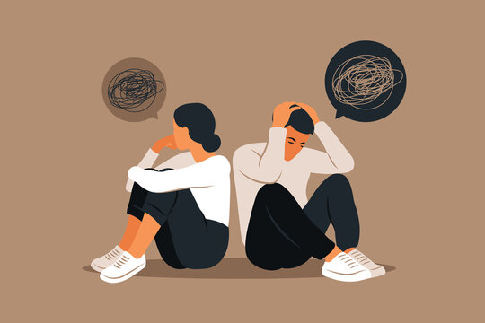 Man and a woman in a quarrel. Conflicts between husband and wife. Two characters sitting back to back, disagreement, relationship troubles. Concept of divorce, misunderstanding in family. Vector.