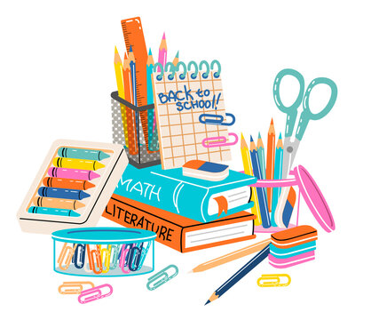 Set of school supplies composition. Back to school lettering. Children's subjects for study. Vector illustration in a flat style on a white background. All objects are isolated