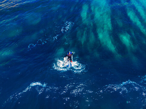 Surfer rows up to catch crest of wave in blue ocean. Concept surfing. Top view