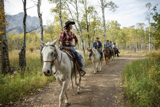 Female rancher leading horseback ride on idyllic autumn ranch trail