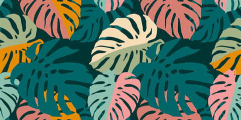 Obraz Tropical seamless pattern with abstract leaves. Modern design for paper, cover, fabric, interior decor and other - fototapety do salonu