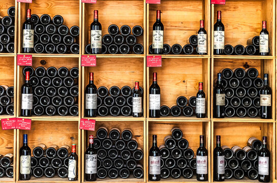 Bottles of wine in the store of Saint Emilion