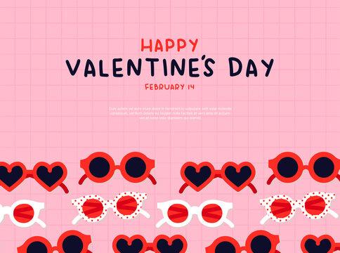 Valentine's Day heart sunglasses cartoon card