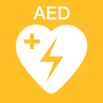 AED symbol icon. Heart first aid defibrillator sign.