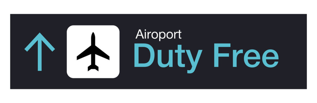 Airport duty free sign icon.