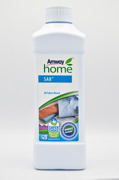 Hygienic white plastic detergent bottle, Amway cleaning detergent, Istanbul Turkey March 17, 2019