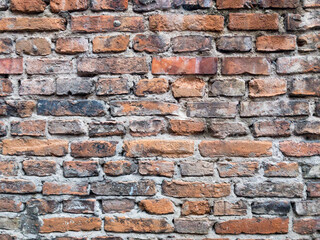 Old brick wall closeup. Destroyed