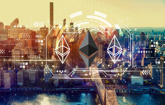 Ethereum with the New York City skyline near midtown