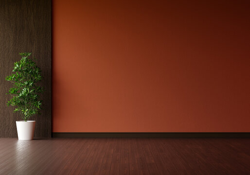 Green plant in brown living room with free space for mockup, 3D rendering