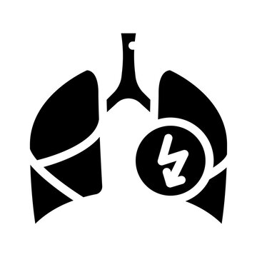lungs cutting ache glyph icon vector illustration