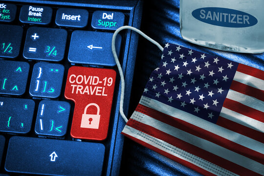 US COVID-19 Coronavirus Travel Restrictions Concept With American Flag Face Mask and Hand Sanitizer