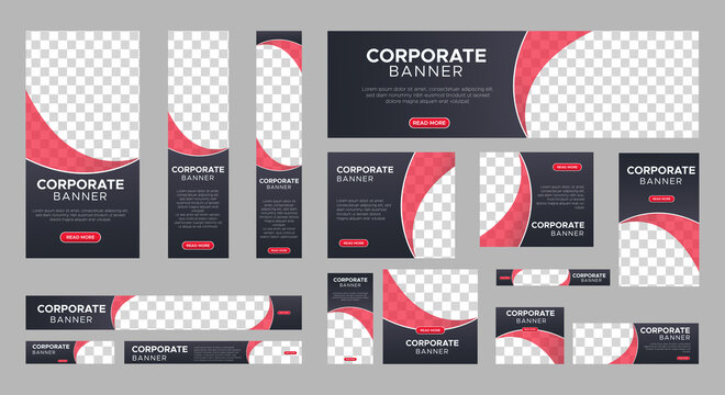 Abstract banner design web template Set, Horizontal header web banner. Modern gradient black cover header background for website design, Social Media Cover ads banner, flyer, invitation card