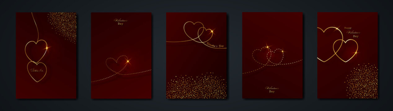 dark red cards set Happy Valentines day Gold heart dashed line art background. Golden holiday poster with text, jewels. Concept for Valentines border banner, flyer, party invitation, jewelry gift shop